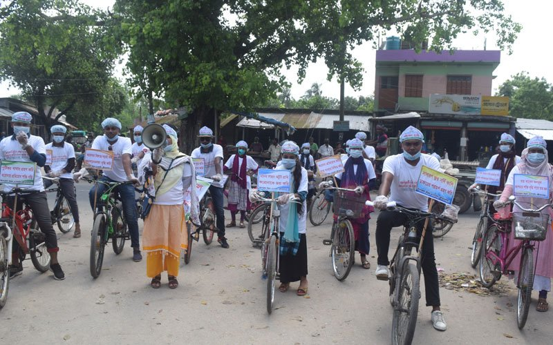 Colorful Bicycle Procession: Awareness Raising to Prevent Coronavirus in Jibannagar