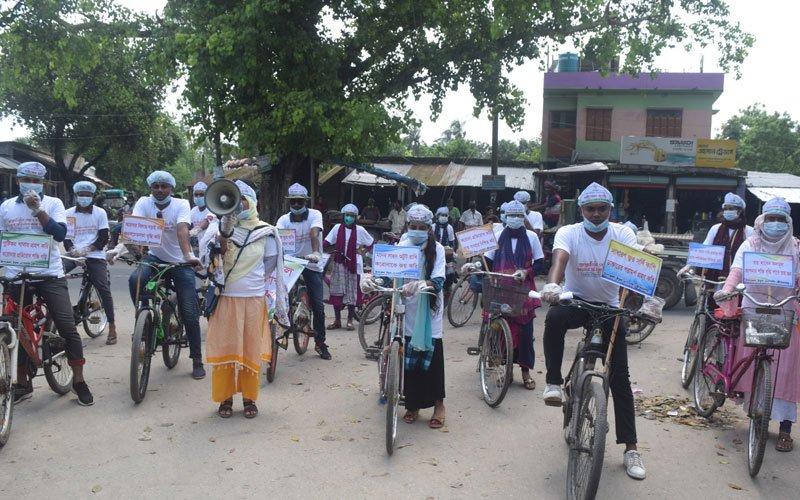 Colorful Bicycle Procession: Awareness Raising to Prevent Coronavirus in Jibannagar